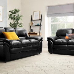 Black Leather Sofa Down Cushion Replacement Rochester Suite 3 2 Seater Only 749 98 Gallery