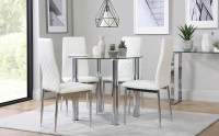 Solar Round Chrome and Glass Dining Table with 4 Renzo ...