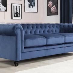 Blue Velvet Chesterfield Sofa Affordable Modern Sofas Hampton Fabric 3 Seater Only 699 99 Gallery