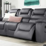 Vancouver Grey Leather 3 Seater Recliner Sofa Furniture Choice