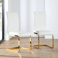 Perth Leather Dining Chair White (Gold Leg) Only 79.99 ...