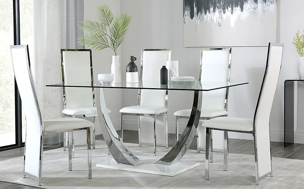 Peake Glass And Chrome Dining Table White Gloss Base