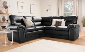 Bromley Black Leather Corner Sofa   Furniture And Choice