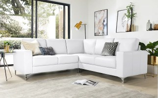Baltimore White Leather Corner Sofa   Furniture And Choice