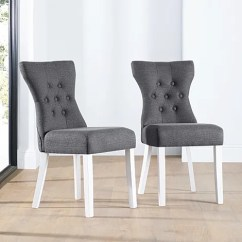 Fabric Dining Chairs Uk Doc Mcstuffins Chair Canada Buy Upholstered Online Bewley Button Back Slate White Leg