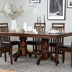 Dining Table Set 6 Chairs Armless Folding Chair Seater Tables Chatsworth Extending Dark Wood And Java