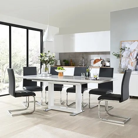 dinner table and chairs steel chair meme tokyo white high gloss extending dining with 6 perth grey leather