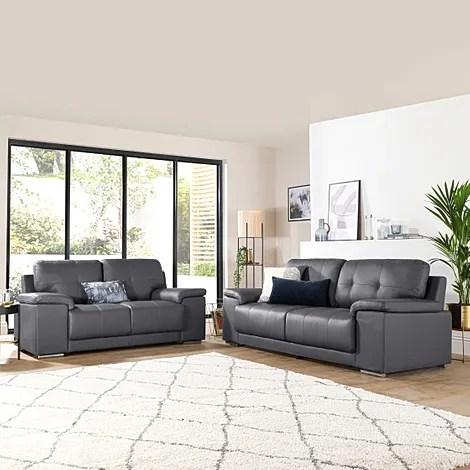 kansas grey leather 3 2 seater sofa set