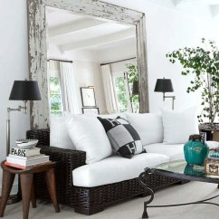 How To Decorate A Small Living Room With Big Furniture Classic Sets Ideas Choice Monochome Sofa In Front Of Large Mirror