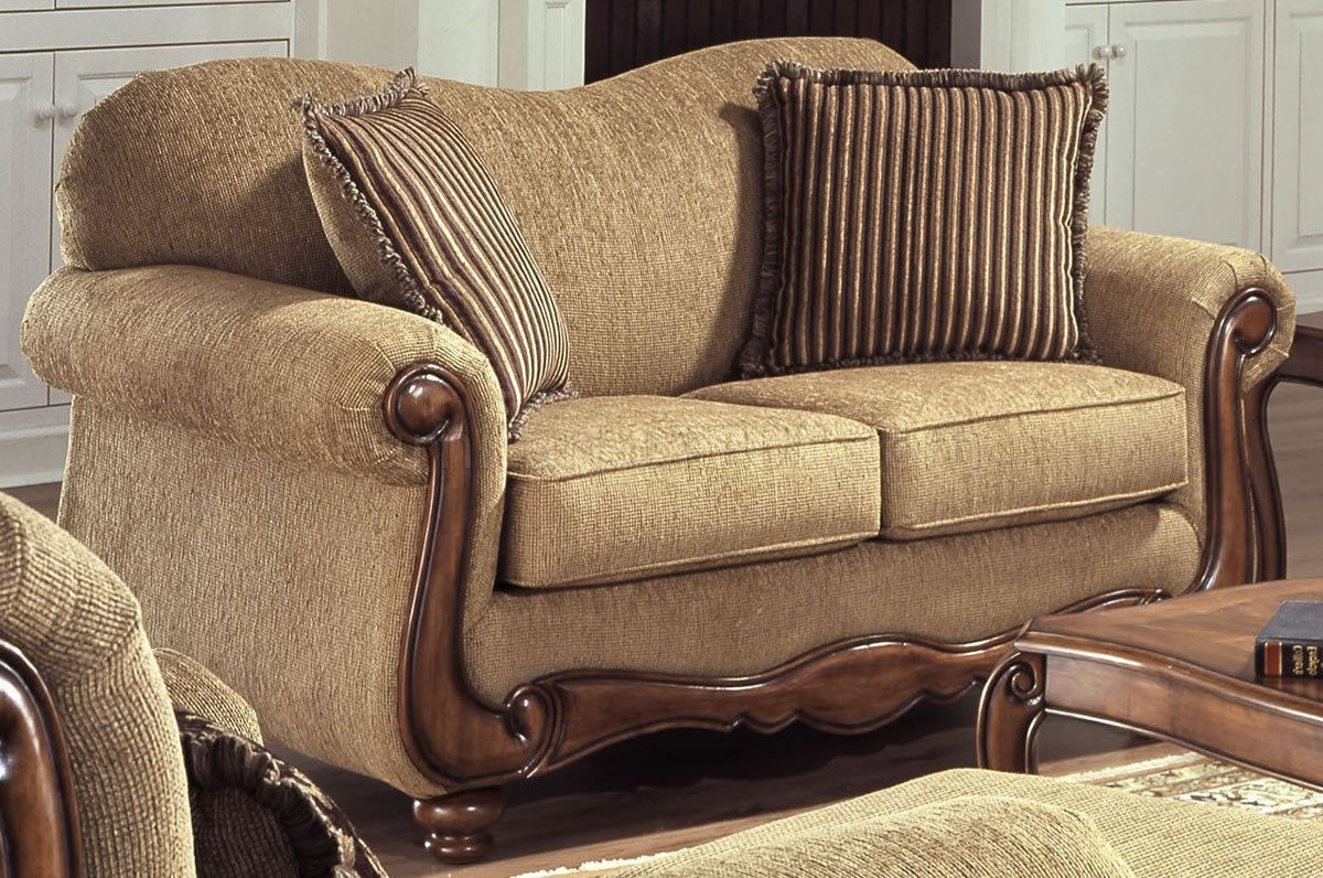tan fabric sofa reupholster singapore cost traditional and loveseat set w throw pillows