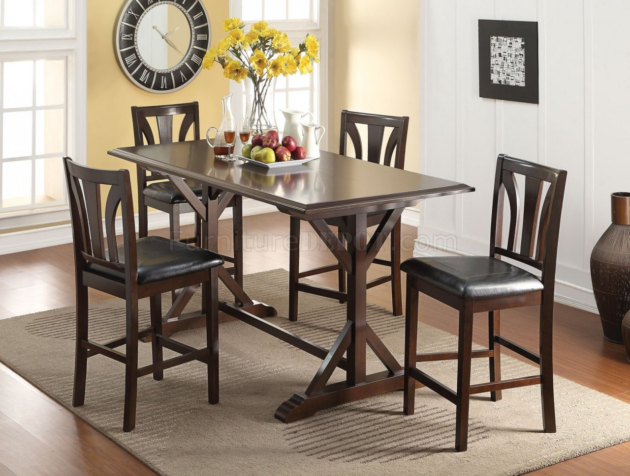 72620 Counter Height Dining Table 5pc Set By Acme W Options