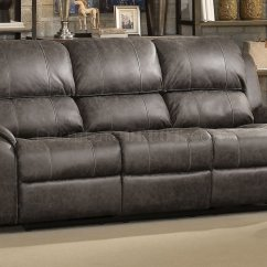 Gray Leather Sofa Recliner Faux Reclining Sam S Barnaby Motion 52880 In Polished Microfiber By Acme