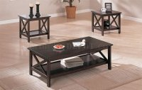 Dark Espresso Finish Contemporary 3 Piece Coffee Table Set