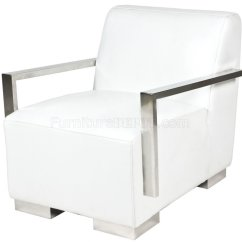 Modern White Leather Club Chair Kids Table And Chairs With Storage Bi Cast Lounge W Metal Arms Legs