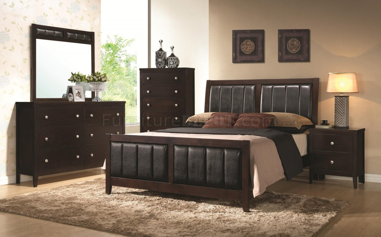 Carlton 202091 5Pc Bedroom Set Cappuccino By Coaster WOptions