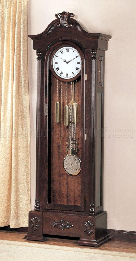 Warm Brown Finish Large Scaled Grandfather Clock wButton