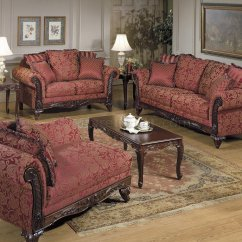 Traditional Sofa Sets Living Room Collection And Delivery Elegant Tapestry W Carved Wood Frame