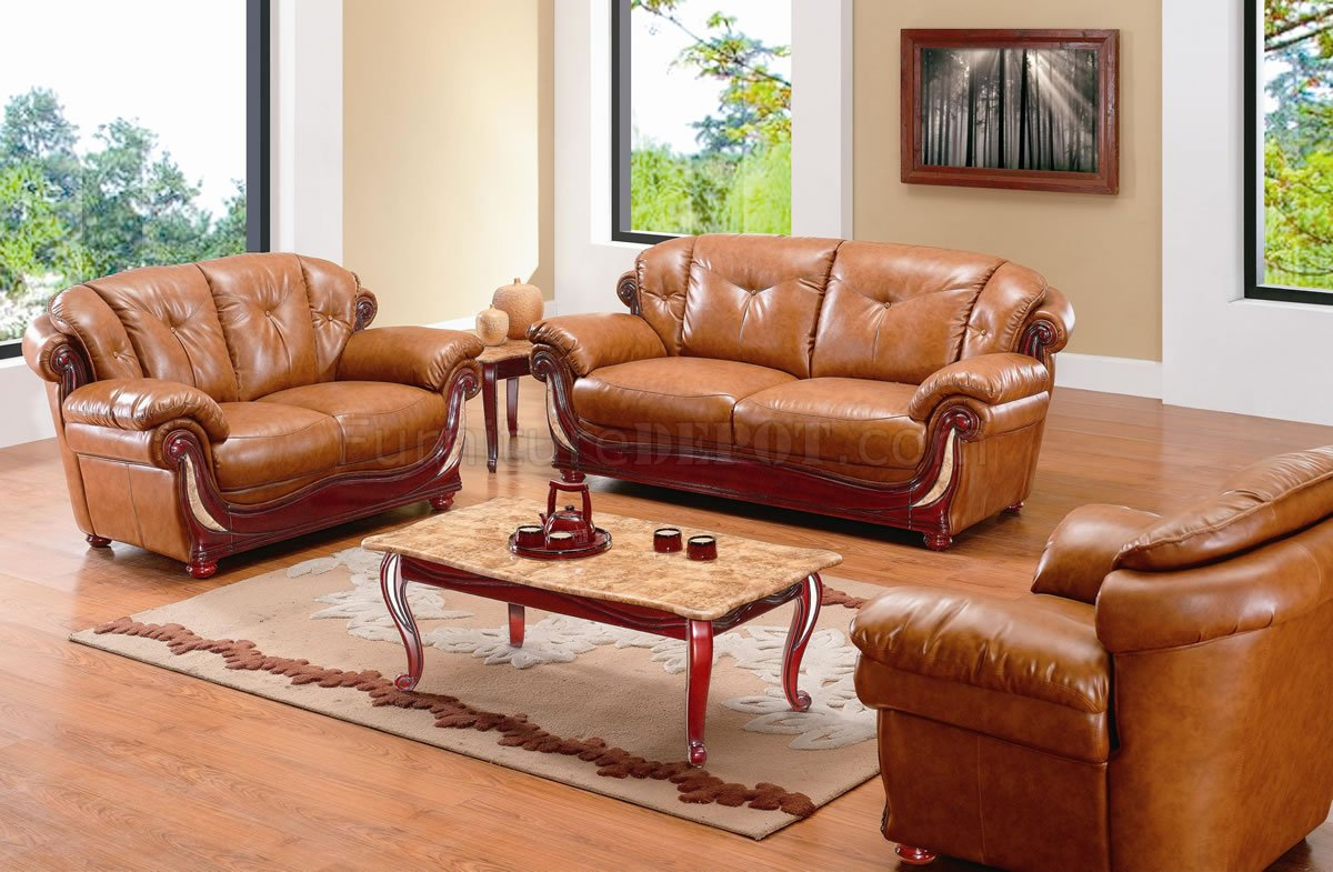 tan leather sofa and loveseat lilac fabric click clack bed whisky classic living room w/options