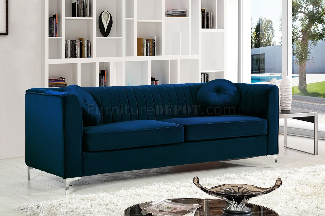 Isabelle 612 Sofa In Navy Velvet Fabric WOptions By Meridian