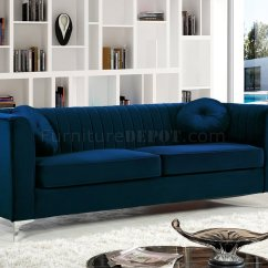 Navy Blue Leather Club Chair Swinging For Bedroom Isabelle 612 Sofa In Velvet Fabric W/options By Meridian