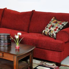 Red Fabric Sofa How To Make A More Comfortable Contemporary Sectional W Rolled Arms