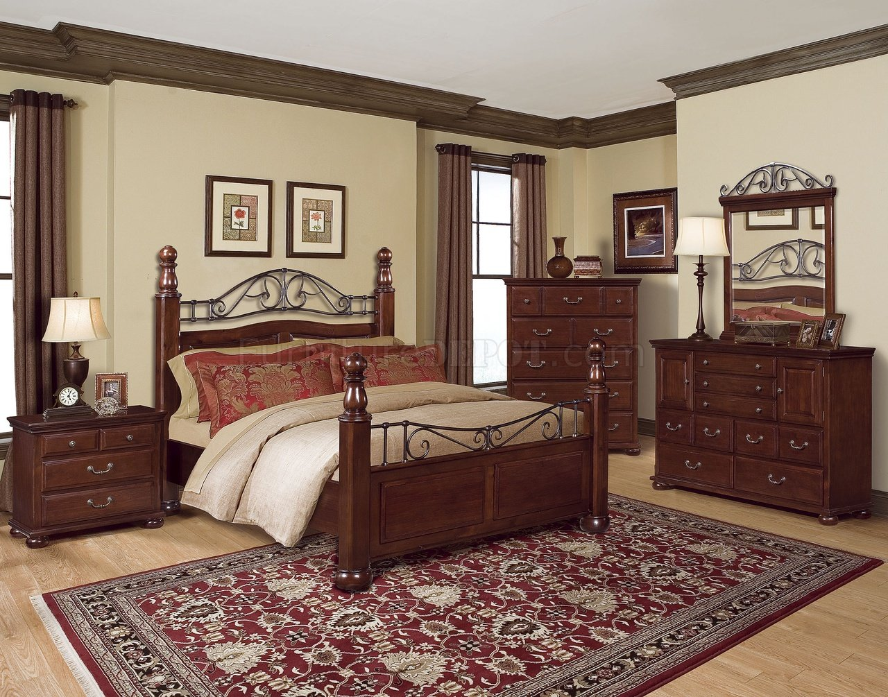 rich cherry classic bedroom w scrolling