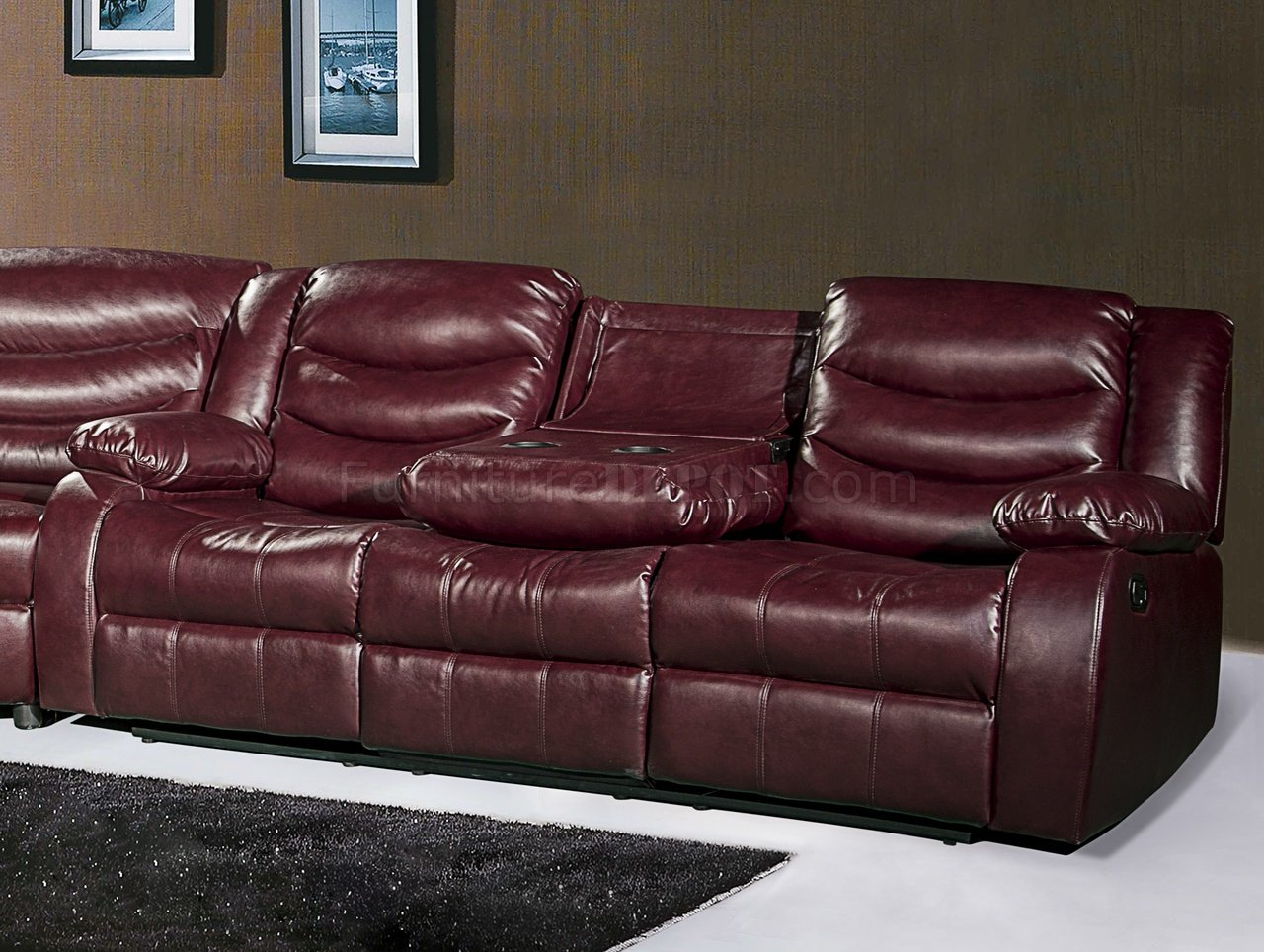 sectional sofas and recliners red plaid sofa gramercy 644 motion in burgundy bonded leather