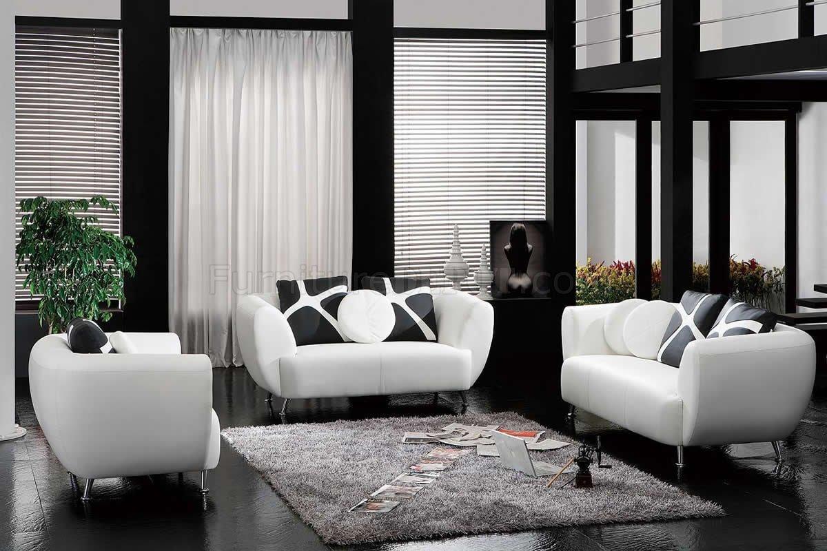 white bonded leather modern 3pc sofa