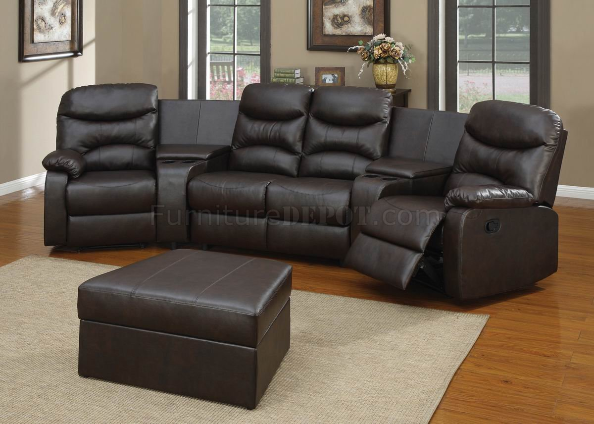 Black Bonded Leather Match Modern Home Theater Sectional Couch