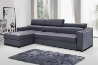 Ritz Sleeper Sectional Sofa in Grey Leather by J&M
