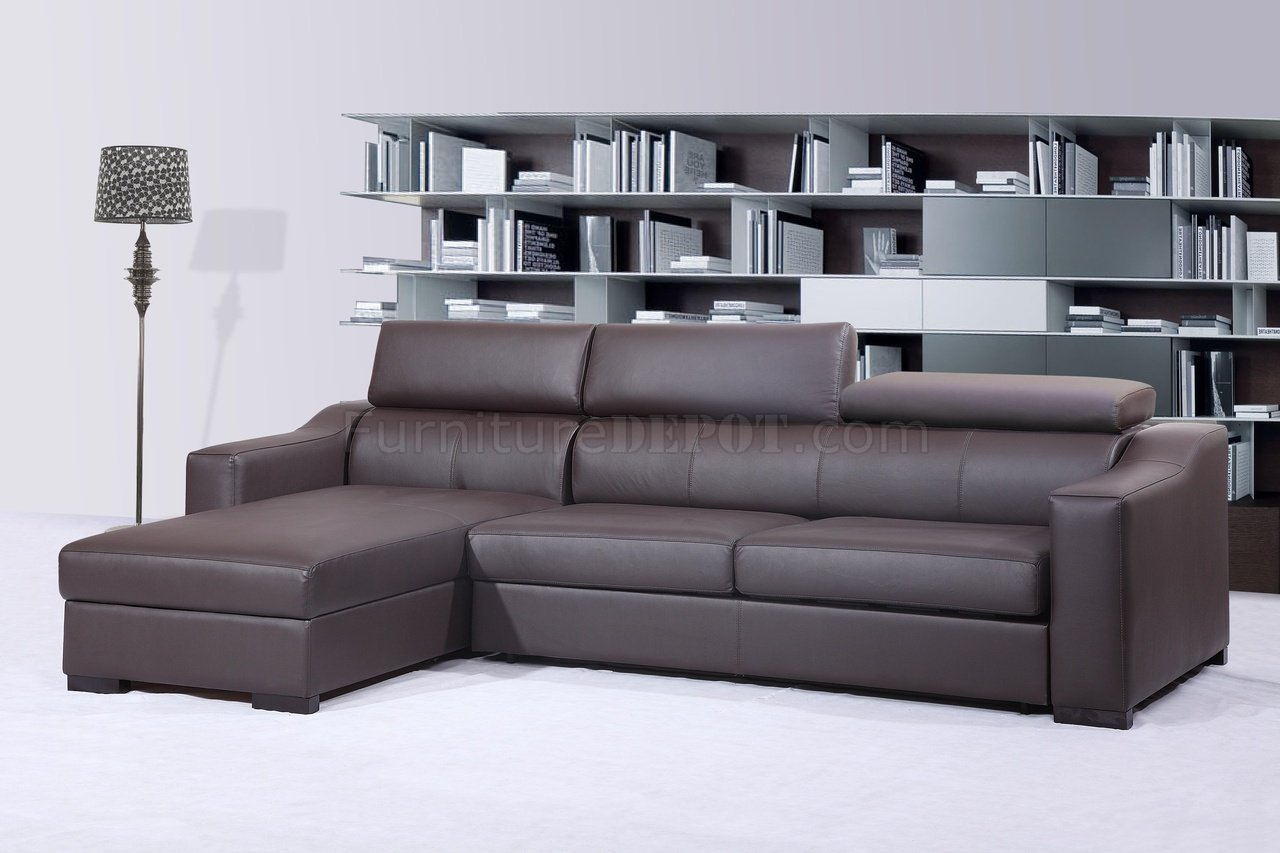 Ritz Sleeper Sectional Sofa Chocolate Brown Leather By J M