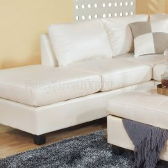 White Leather Sectional Sofa With Ottoman Natalie Corner Bed Bonded Modern W Storage