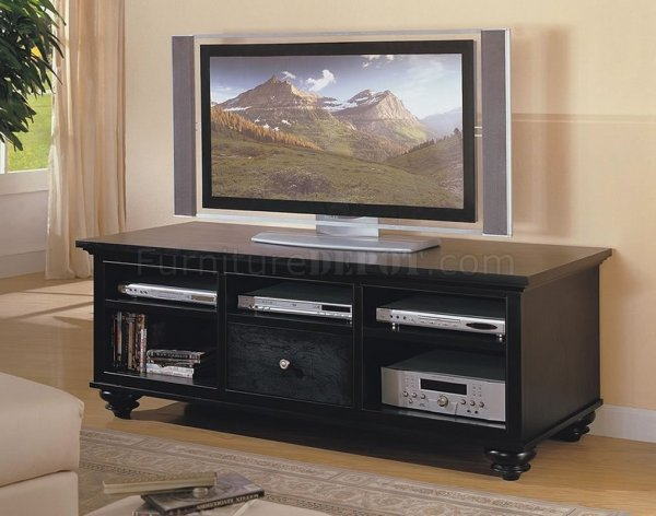 Black Finish Casual Style Tv Stand Withstorages