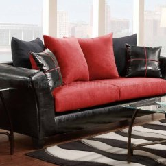 Red Microfiber Sofa Best Fabric For A Slipcover 90003 In And Black Bicast W Options