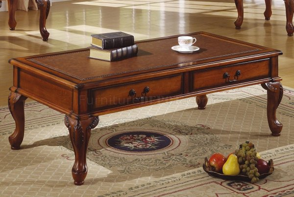 Walnut Traditional 3pc Coffee Table Withleather Antique Top