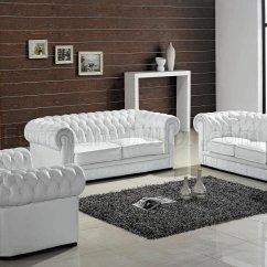 Living Room Set Leather Light Blue Wall Ultra Modern 3pc Paris White W Wood Legs