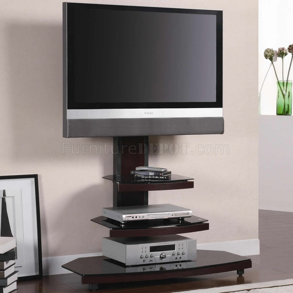Gun Metal with Wood  Tempered Black Glass Modern TV Stand