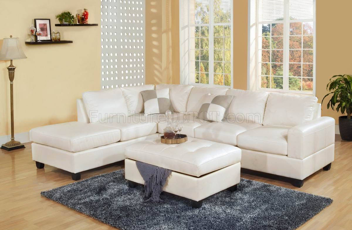 white leather sectional sofa with ottoman studio apartment bed bonded modern w storage