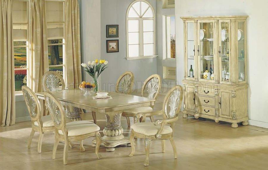 Antique White Finish Dining Table wDouble Pedestal Base