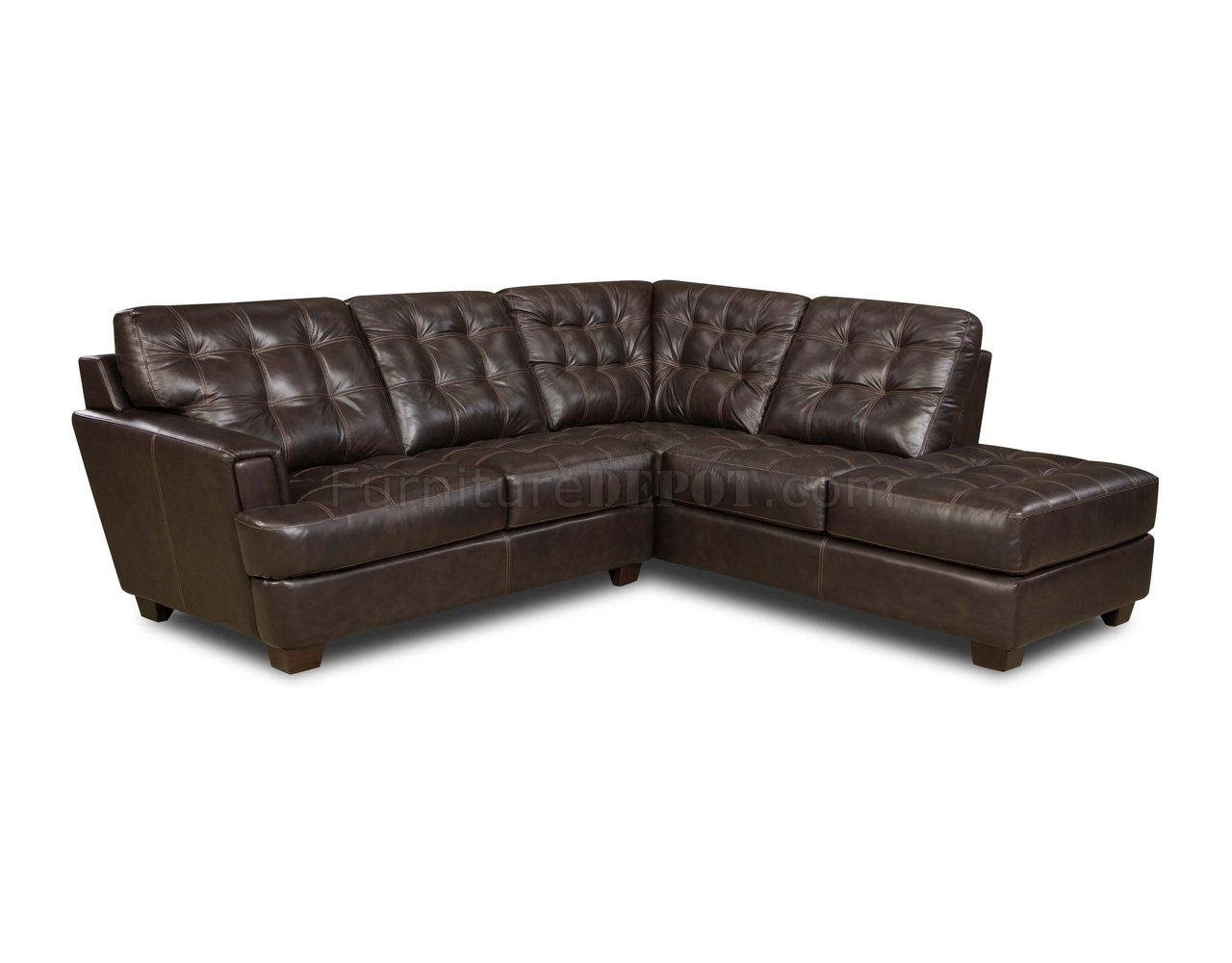 leather sectional sofa tufted brown family room top grain italian modern