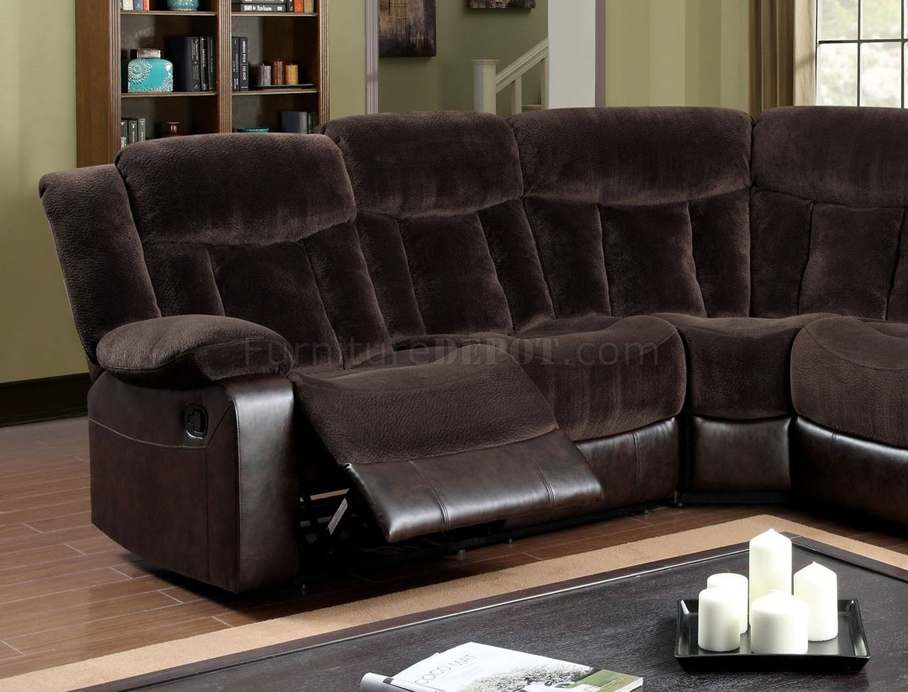 Hampshire Reclining Sectional Sofa CM6809 in Brown Fabric