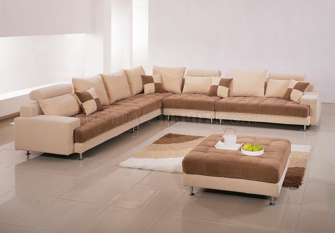 TwoTone Fabric Modern Sectional Sofa wOttoman  Pillows