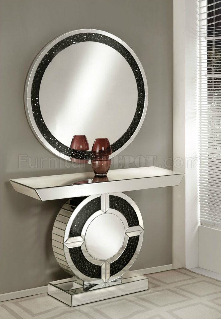 Noor Console Table Amp Mirror Set 90236 In Mirror Amp Black By
