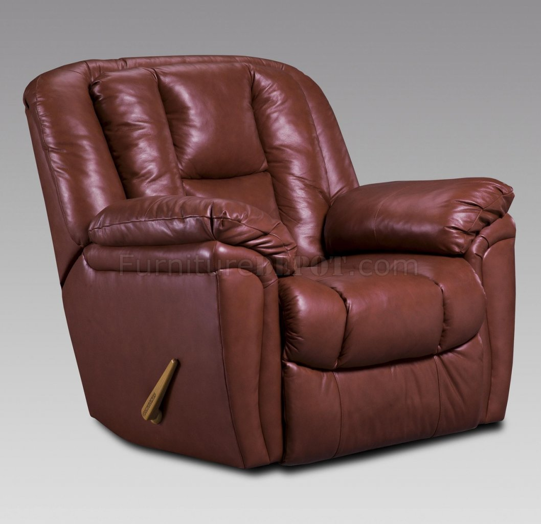 Burgundy Leather Transitional Living Room wRecliner Mechanism