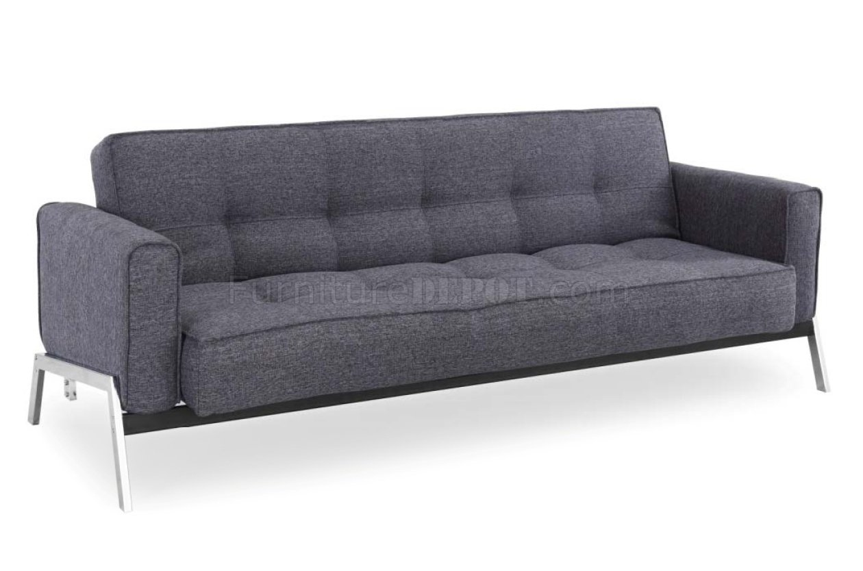 loft charcoal sofa bed for bedroom grey fabric modern convertible w chrome legs