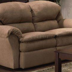 Microfiber Sofa And Loveseat Recliner Foam Fold Up Bed Camel Modern Reclining Set