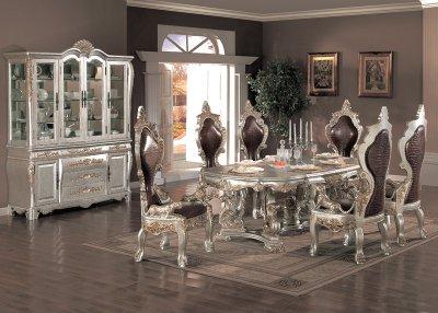 Metallic Finish Traditional 7Pc Formal Dining Set WOptions