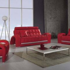 Modern Leather Living Room Set Ashley Furniture Rooms 3 Piece T50 Red 3pc W Folded Armrests