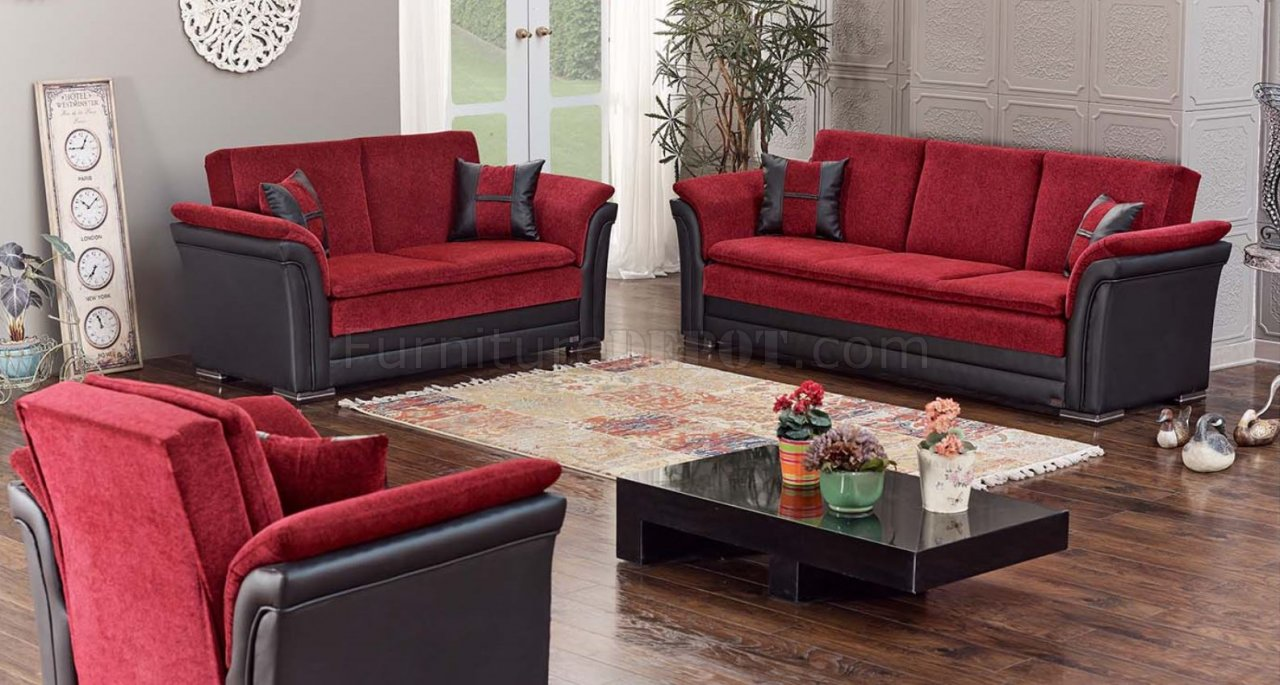 leather furniture ideas for living rooms pictures of room apartments austin sofa bed convertible in red & black by empire w/options