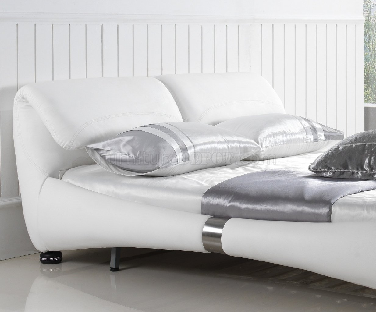 bianca futon sofa bed review contemporary covers uk luxe in white half leather by casabianca